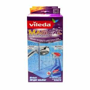 Vileda Magical Reinigungs-System Doppelpack wasserabweisendes Spray 500ml + Magic Microfasertuch