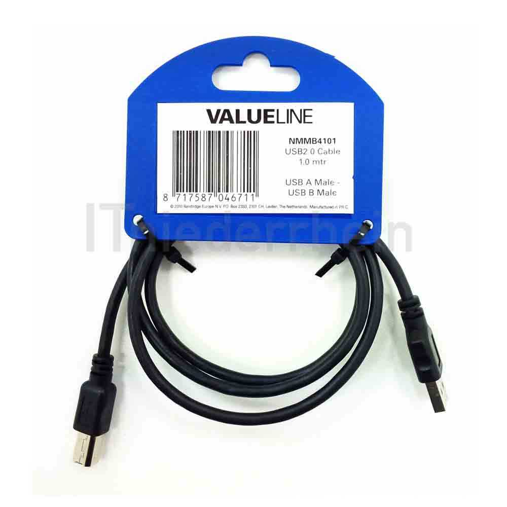 Valueline USB 2.0 HiSpeed Kabel, 1,0m A-B Stecker (NMMB4101)