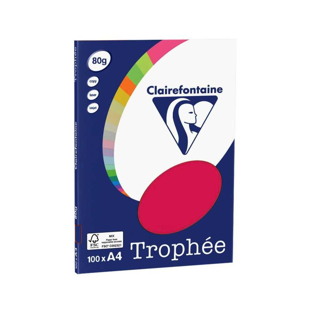 100 Blatt Clairefontaine Trophee 4121 farbiges A4-Papier FUCHSIA 80g/m²